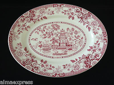 "Rare Myott Son & Co England China RED Indiana - 12-1/2"" OVAL SERVING PLATTER"