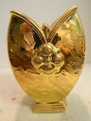 """Vintage Elynor Weeping Gold Finish Unique Shaped Vase 5.75"""" x 3.75"""" Very Good"""