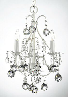MINI WROUGHT IRON CRYSTAL BALL CHANDELIER LIGHTING TOLE COUNTRY FRENCH FIXTURE