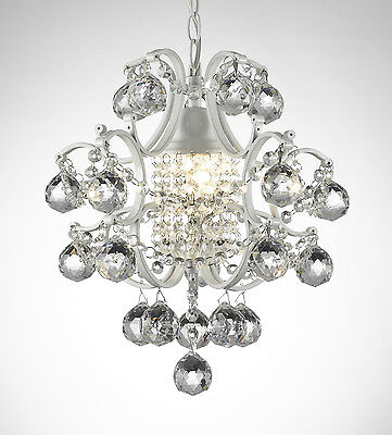 MINI WROUGHT IRON CRYSTAL BALL CHANDELIER LIGHTING COUNTRY FRENCH WHITE FIXTURE