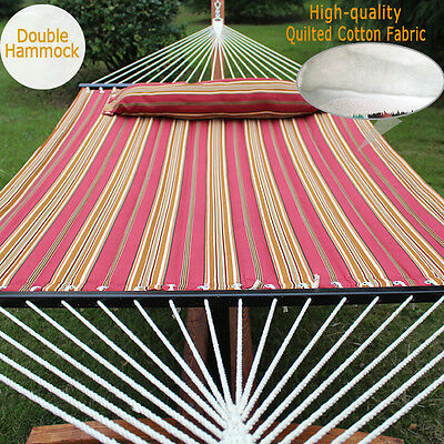 "55"" Quilted Fabric Hammock W/ Pillow Double Size Spreader Bar Heavy-duty 450 lbs"