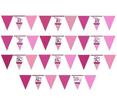 Perfectly PINK/Girl Age Birthday Party Paper Flag Banner BUNTING 12ft Decoration