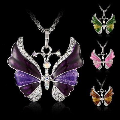 Fashion Silver Rhinestone Necklace Crystal Butterfly Animal Pendant Women Gifts