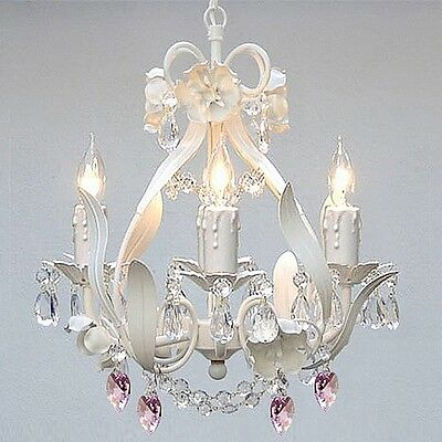 SMALL CRYSTAL CHANDELIER Exquisite 4 LIGHT White Iron Ceiling Hanging Fixture