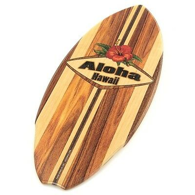 Aloha Hibiscus Flower Wood Mini Surfboard KC Hawaii Decor 8.5 x 20