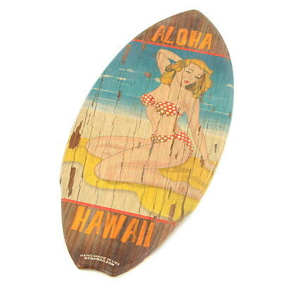 Pin Up Girl Aloha Beach Vintage Wood Mini Surfboard KC Hawaii Decor