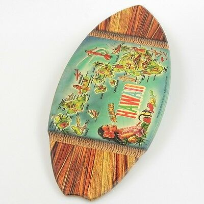 Hawaiian Islands Map Wood Mini Surfboard KC Hawaii Decor 8.5 x 20