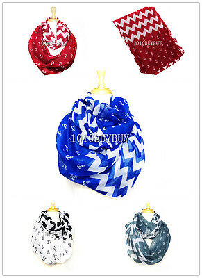 Wholesale Lots 12PC Assorted Color Nautical Anchor Zigzag Infinity Scarf #6034