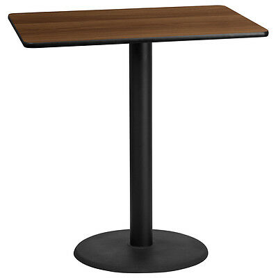 30'' X 45'' Rectangular Walnut Laminate Table Top With 24'' Round Bar Ht Bases