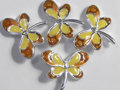 4 - 2 HOLE SLIDER, SPACER OR CONNECTOR BEADS ORANGE & YELLOW ENAMEL DRAGONFLIES