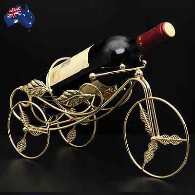 Metal Wine Rack Bottle Holder Table Decor Handle Stand Basket Tricycle HWIHA3291