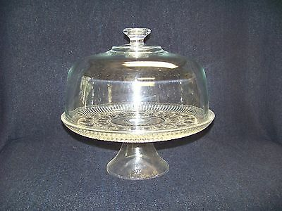 Rare Vintage Federal  Button& Cane Crystal  Cake Pedestal with Dome Lid