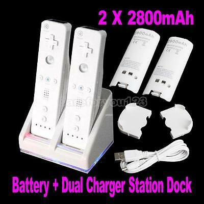 Charger For Nintendo Wii Remote Control Double Cradle With Rechargeable Battery