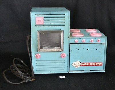 ThriftCHI ~ Vtg Pressed Steel Electric Junior Chef Magic Cool Turquoise & Pink
