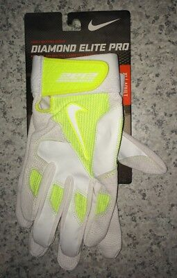 NEW Mens S M XL NIKE Diamond Elite Pro White Volt Leather Baseball Batting Glove