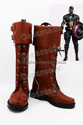 Avengers Captain America Steve Rogers COSplay Costume Leather Boots Shoes Prop