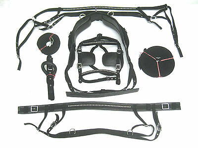 """""""NEW""""NYLON DRIVING HARNESS FOR SINGLE HORSE IN BLACK COLOR""""with clinchers 4 size"""
