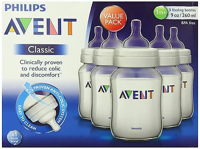 Philips AVENT 9 Ounce BPA Free Classic Polypropylene Bottles, 5-Pack, New