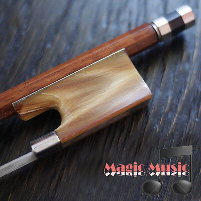 Silver Pernambuco Violin Bow with Red Horn Frog (4/4) Good Mongolian Horse Hair
