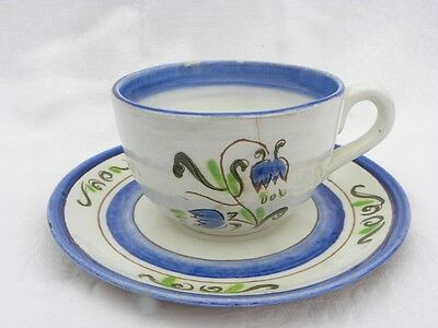 "Vintage Stangl Terra Rose ""Blue Tulip"" Cup and Saucer"
