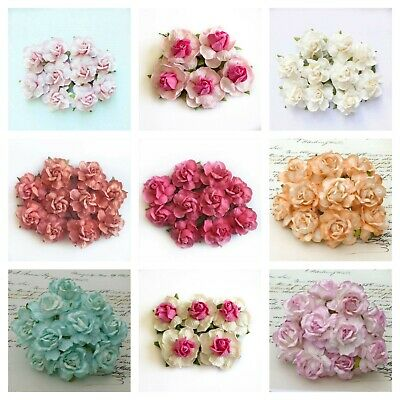 10 Mulberry Paper Large 40mm Wild Rose Flowers With Wire Stem For Card Making
