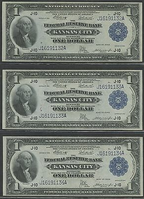 Fr739 (3) Consecutive Gem Unc Frbn Notes W/ Full Embossing Wl8651 Key