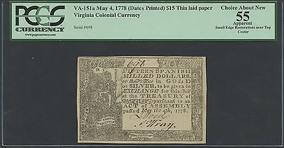 "VA-151a MAY 4,1778 VIRGINIA $15 THIN LAID PAPER PCGS CHOICE AU ""55"" WL8653"