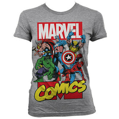 Marvel Comics - The Avengers Damen Logo Group T-Shirt Hellgrau (S-XL)