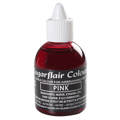 PINK - Sugarflair Edible Food Colouring Liquid For Airbrushing Cake Decorating