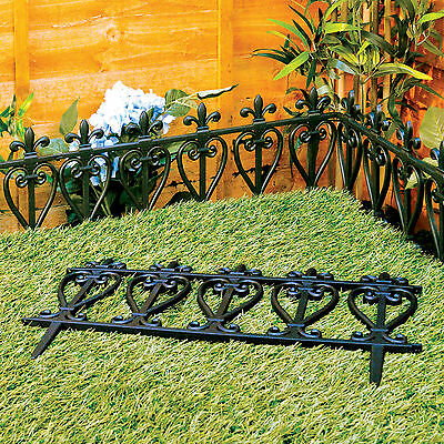 Garden Edging Lawn Flowerbed Border Fence Ornate Victorian Style Black Fencing