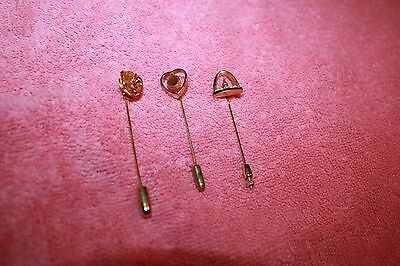 3 Vintage Gold-tone Metal Hat Pins Lot Gateway Arch St Louis, Rose & Heart