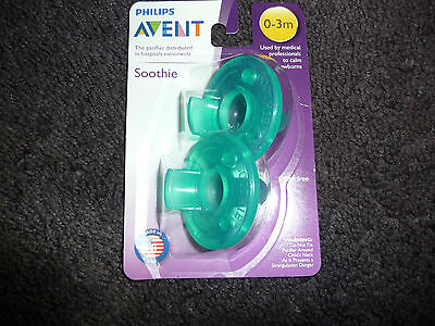 NEW AVENT PHILIPS SOOTHIE PACIFIER GREEN 2 PACK SIZE 0-3 MONTHS