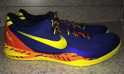 a0df7b7388ca NIKE KOBE 8 System Low Blue Yellow Orange Basketball Shoes Sneakers NEW Mens  18