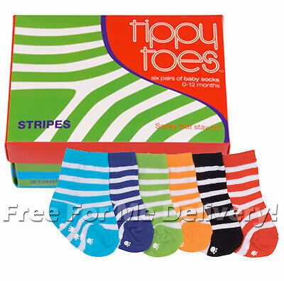 STRIPES TIPPY TOES CUTE BABY INFANT KIDS BOX SET of 6 SOCKS **FREE DELIVERY**