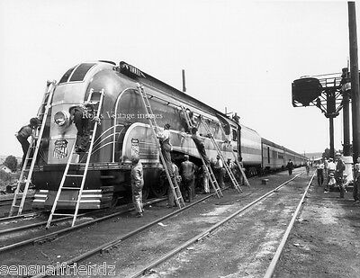 Union Pacific Steam train Locomotive 49er being servicred Railroad Photo UP