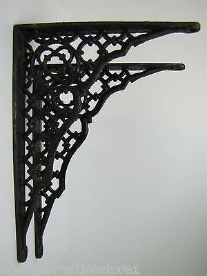 Antique Cast Iron Architectural Pair Brackets nicely detailed old shelf wall mnt