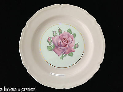 "Edwin KNOWLES KN0601 China Scalloped 1942 7.5"" BREAD PLATE PINK ROSE BUD BAND"