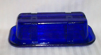VINTAGE LOOK BLUE COBALT GLASS BUTTER DISH WITH LID / BUTTER PLATE