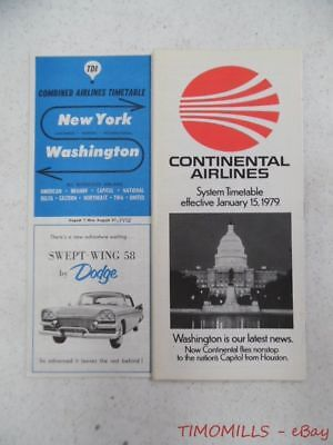 1958 1979 Continental & TDI Airlines Timetable Lot of 2 System Table Vintage VG