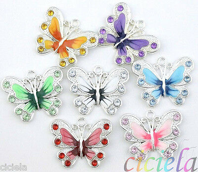 New 5/20/50Pcs Silver Plated Enamel Crystal Butterfly Charms Pendant Making DIY