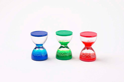 Set of 3 Red, Blue and Green Colour Liquid Sensory MotionTimer ASD ADHD Downes