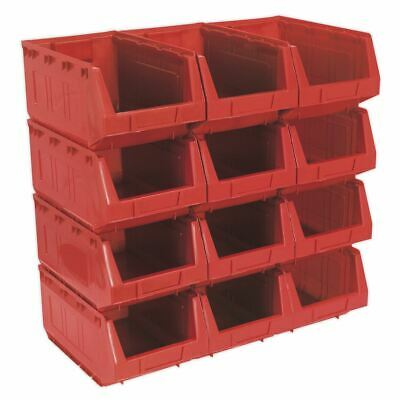 Sealey TPS412R Plastic Storage Bin 209 x 356 x 164mm - Red Pack of 12