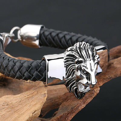 Pure stainless steel lion head with black leather bracelet Fashion Men's Jewelry
