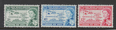 St Kitts 1958 Caribbean Federation Sg 120-122 Mnh.
