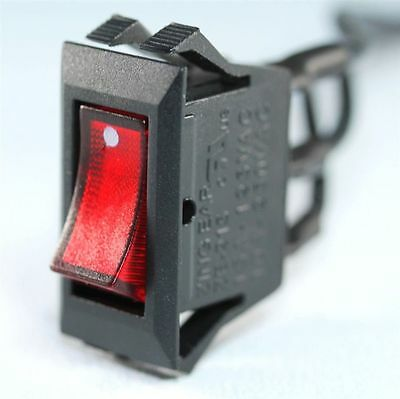 Zing Ear ZE-215 Rocker Toggle Switch Black Snap-in On/Off Illuminated Red 3 Pin