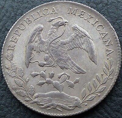 8 reales 1889 Culiacan Cn AM Mexico silver coin toned