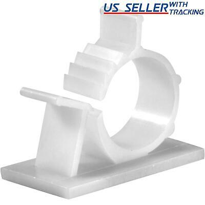 "25x Cable Clips Adhesive Cord Management Organizer Wire Holder 0.85"" Clamp White"