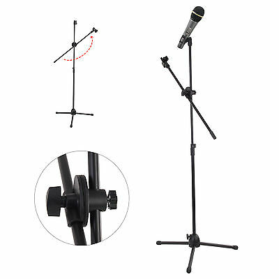 Professional Boom Tripod Microphone Mic Stand Holder Adjustable Black + 2 Clips