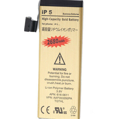 2680mAh High-Capacity Gold Replacement Battery with Flex for Apple iPhone 5 5G