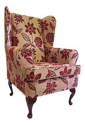 Wing Back Queen Anne Chair Cairo Floral Ruby Chenille Fabric
